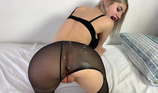 Блондинка в чулках не против съемки русского домашнего порно со спермой
