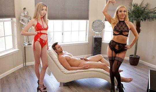 Молодые и худые красотки устроили с другом групповой секс в разных позах